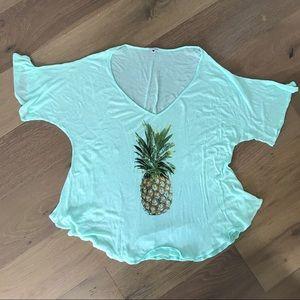 Wild fox pineapple swim cover up shirt. Small